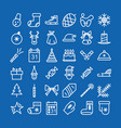 christmas icon set line style vector image vector image