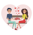 couple in love sitting bench vector image