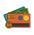 credit card and bills with coin vector image