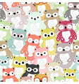 cute colorful owl cartoon seamless pattern vector image