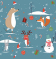 cute sweet winter and merry christmas animal vector image vector image