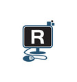 digital technology initial r vector image vector image