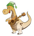 dinosaur playing guitar vector image