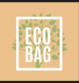 eco bag logo with green tree vector image vector image