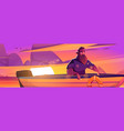 enjoy moment poster with man in boat at sunset vector image vector image