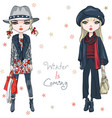fashion girls in winter clothes vector image vector image