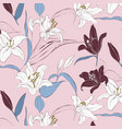 floral lily pattern spring hand drawn vector image vector image