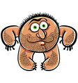 Funny cartoon monster with stubble