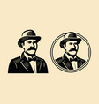 gentleman sir symbol portrait businessman vector image