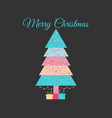 geometric christmas tree decorated with a garland vector image