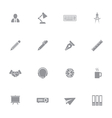 gray simple flat icon set 8 vector image vector image