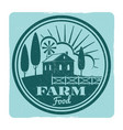grunge farm food label design vector image vector image