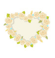 heart made of white roses vector image