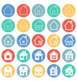 home icons set on color circles background for vector image