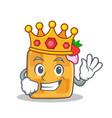 King waffle character cartoon design vector image