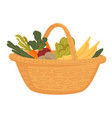 market food in wicker basket farm vegetables and vector image