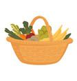 market food in wicker basket farm vegetables