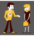 Meeting guy athlete and student girl talking pupil vector image