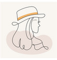 modern abstract facesilhouette girl in a hat i vector image vector image