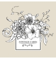 monochrome greeting card with blooming peony vector image vector image