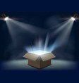 open cardboard box with light inside vector image vector image