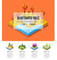 park zone with heart shaped trees infographics vector image vector image