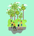 people on roller skates in the park vector image
