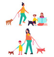 people walking dogs have fun vector image vector image