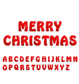 red shiny letters holiday fonts merry christmas vector image vector image