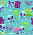 seamless pattern with cute cartoon baby octopus vector image vector image