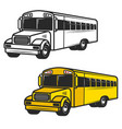 set of school buses icons isolated on white vector image