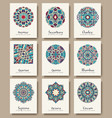 set of traditional flyer pages ornament set vector image
