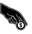 silhouette hand with metal coin cash money vector image vector image