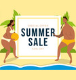 summer sale banner with couple on beach background vector image vector image