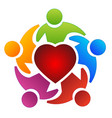 teamwork group people and heart logo vector image