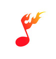 the symbol of fire and music vector image vector image
