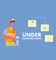 under construction web banner with text vector image vector image