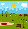 view of a playground with a bench vector image vector image