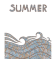 Vintage Wave Hand-drawn Pattern with Summer text vector image vector image