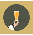 Waiter with glass of beer vector image vector image