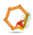 Wooden frame with red and yellow flowers vector image vector image