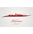 Yokohama skyline in red vector image vector image