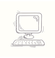 Sketched desktop computer icon vector image