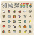 30 Colorful Doodle Icons Set 4 vector image vector image