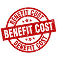 benefit cost round red grunge stamp vector image vector image