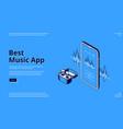 best music app isometric landing wireless headset vector image vector image