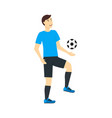 cartoon character man training or playing soccer vector image