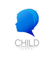 child blue logotype in silhouette profile