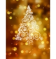 Christmas tree on golden EPS 8 vector image