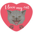 cool kitten in heart shape flat vector image
